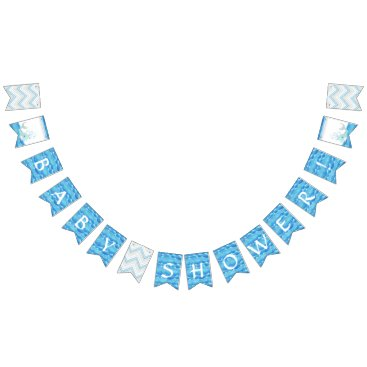 Beach Themed Boy Baby Shower Party Decor Whale Ocean Waves Bunting Flags