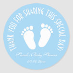 "Boy baby shower party favor thank you stickers<br><div class=""desc"">Blue boy footprints baby shower party favor stickers. Newborn babyshower accessories. Neutral foot steps design thank you labels with customizable background color. ie soft yellow, gray, purple, light blue or girly pastel pink. Suitable for boys and girls. Adorable baby feet design for celebration of birth. Also handy as babyshower envelope...</div>"