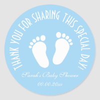 Boy baby shower party favor thank you stickers