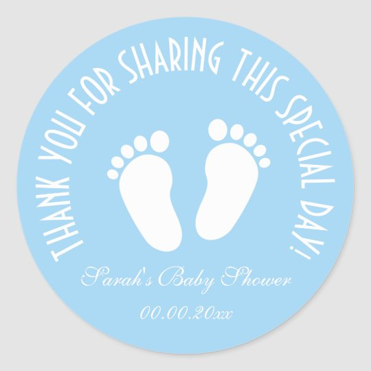 Baby Shower Stickers For Favors: Boy Baby Shower Party Favor Thank You Stickers