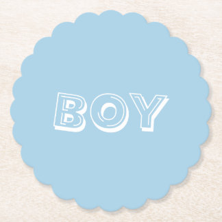 Boy Baby Shower Powder Blue Paper Coaster
