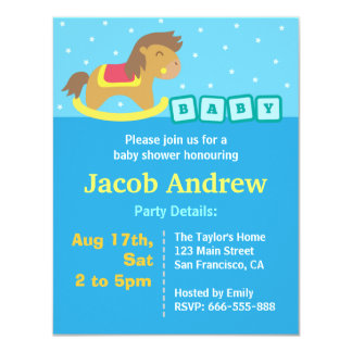 Boy Baby Shower, Rocking Horse 4.25x5.5 Paper Invitation Card