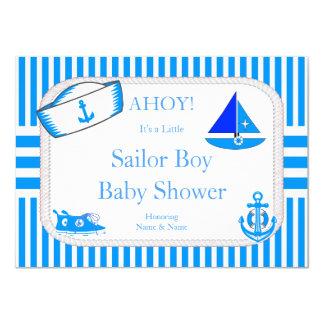 Boy Baby Shower Sailor Light Blue Sailboat Sneaker Card