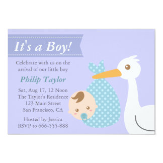 Boy Baby Shower - Stork Delivers Cute Baby Boy Invite