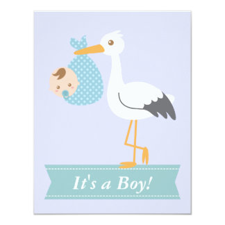 Boy Baby Shower - Stork Delivers Cute Baby Boy Personalized Invitation
