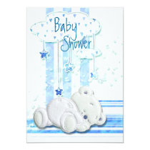 Boy baby shower teddy bear blue invitation