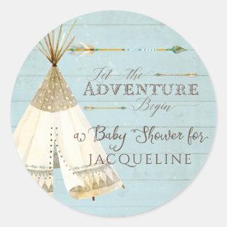 Boy Baby Shower Teepee BOHO Bohemian Adventure Classic Round Sticker