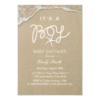 Boy Baby Shower Tropical Beach Starfish Card
