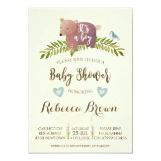boy baby shower woodland forest bear cute card