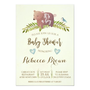 OurFriendsEclectic boy baby shower woodland forest bear cute card