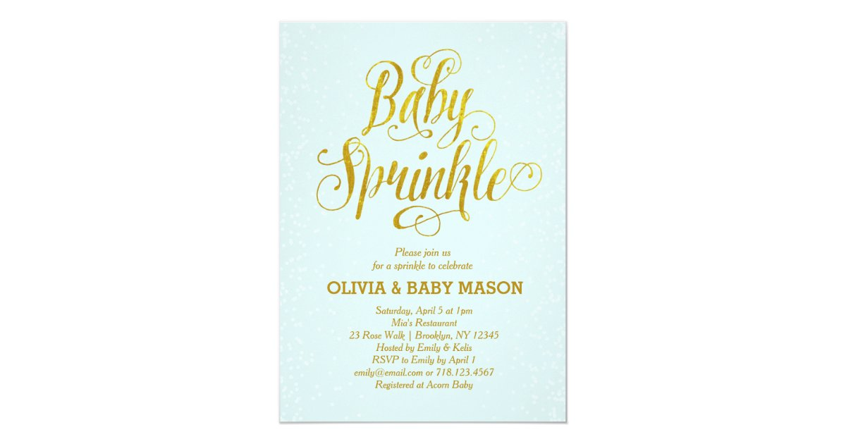 Boy Baby Sprinkle Invitation Blue Gold | Zazzle.com