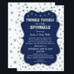 """Boy Baby Sprinkle Invitations, navy silver stars Invitation<br><div class=""""desc"""">Perfect invitation for a 2nd,  3rd,  or 4th baby!  All wording can be changed.  This is also available in other colors.</div>"""