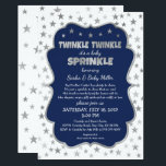 "Boy Baby Sprinkle Invitations, navy silver stars Invitation<br><div class=""desc"">Perfect invitation for a 2nd,  3rd,  or 4th baby!  All wording can be changed.  This is also available in other colors.</div>"