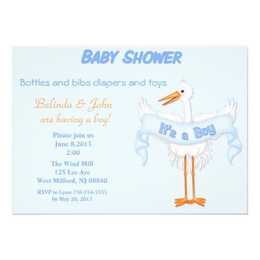 boy baby stork baby shower invitation zazzle