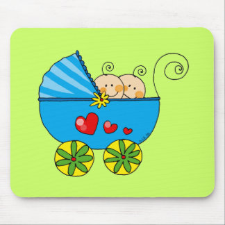Boy baby twins mouse pad