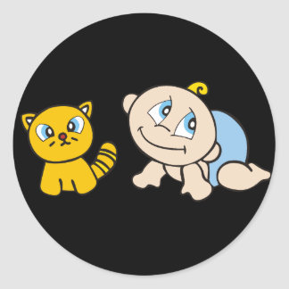 Boy Baby With Cat Tshirts and Gifts Classic Round Sticker