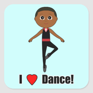 Boy Ballet Dancer: I Love Dance Square Sticker