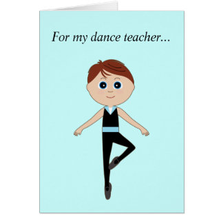 Boy Ballet Dancer: Thank You Teacher Card