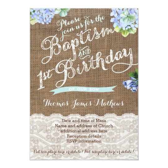 First Birthday And Baptism Invitations 1st Birthday And: Boy Baptism And 1st Birthday, Blue Floral Invites