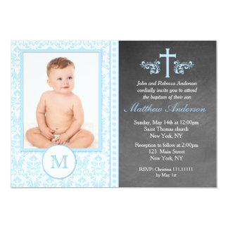 Boy Baptism Chalkboard Invitations