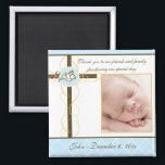 """Boy Baptism/Christening Favor - Photo Magnet<br><div class=""""desc"""">Celebrate your baby/babies Baptism with this beautiful &quot;Photo Magnet Favor&quot;. Customize with the baptismal date and the baby/babies photo. Matching: Baptism/Christening invitation,  return address label,  favor sticker and custom envelope.Matching return address label and custom envelope.</div>"""