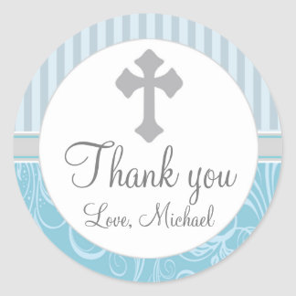 Boy Baptism Christening Stripes Floral Favor Label