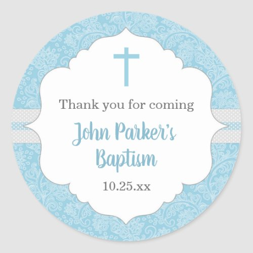 Boy baptism favor idea  blue damask classic classic round sticker