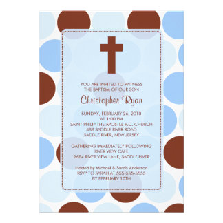 Boy Baptism Inviation Brown Blue Polka Dots Personalized Announcements