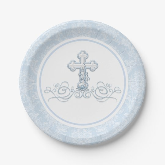 Boy Baptism Paper Plates   Zazzle.com