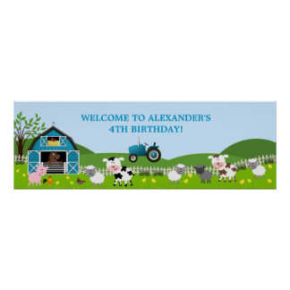 Boy Barnyard Farm Animals Birthday Banner Posters