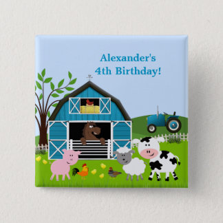 Boy Barnyard Farm Animals Birthday Button