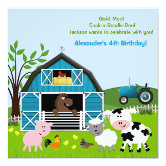 Boy Barnyard Farm Animals Birthday Invitations