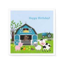 Boy Barnyard Farm Animals Birthday Paper Napkins
