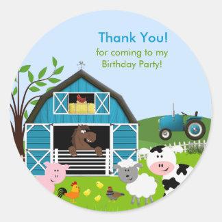 Boy Barnyard Farm Animals Birthday Party Sticker