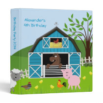 Boy Barnyard Farm Animals Birthday Photo Album 3 Ring Binder