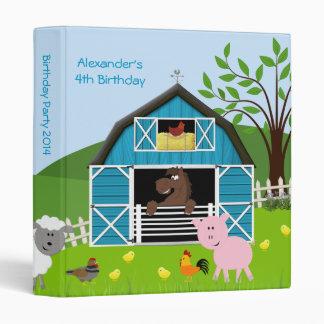 Boy Barnyard Farm Animals Birthday Photo Album 3 Ring Binder