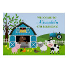 Boy Barnyard Farm Animals Birthday Poster