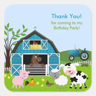 Boy Barnyard Farm Animals Birthday Sticker
