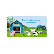 Boy Barnyard Farm Animals Favor Tag Address Label