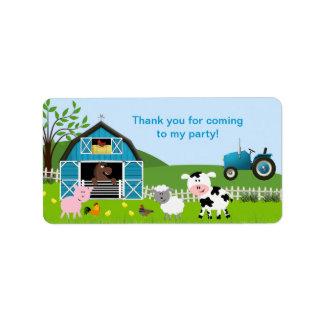 Boy Barnyard Farm Animals Favor Tag Address Label