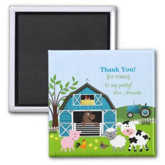 Boy Barnyard Farm Animals Thank You Magnet