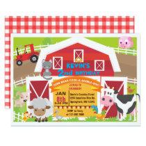 Boy barnyard invitation - Farm Birthday Invitatio
