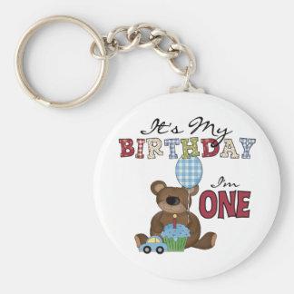 Boy Bear 1st Birthday Tshirts and Gifts Basic Round Button Keychain