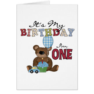Boy Bear 1st Birthday Tshirts and Gifts Greeting Card