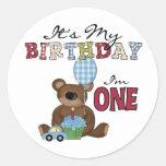 Boy Bear 1st Birthday Tshirts and Gifts Classic Round Sticker