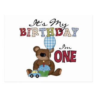 Boy Bear 1st Birthday Tshirts and Gifts Postcard