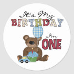 Boy Bear 1st Birthday Tshirts and Gifts Round Stickers