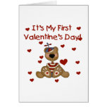 Boy Bear 1st Valentine's Day Tshirts and Gifts Greeting Card