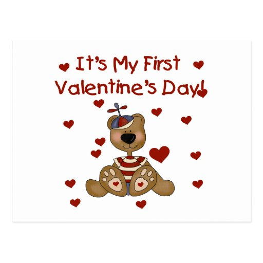 Boy Bear 1st Valentine's Day Tshirts and Gifts Postcard