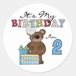 Boy Bear 2nd Birthday T-shirts and Gifts Classic Round Sticker